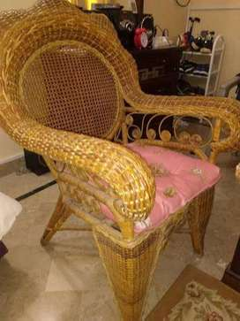 Almost Brandnew CANE MADE King-Chairs (two) With Cushions. DHA Ph-VI.