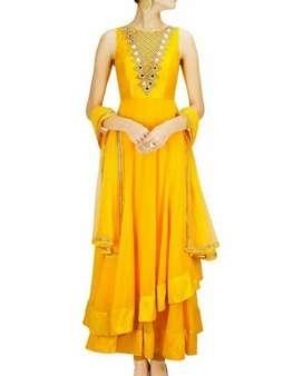 Yellow Mirror work Indian Dress.