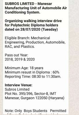 Bumper Vacancy In  Subros Ltd company Gurugram
