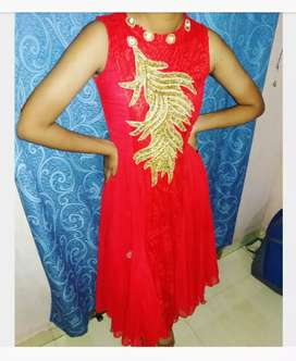 Cherry red net gown for girls