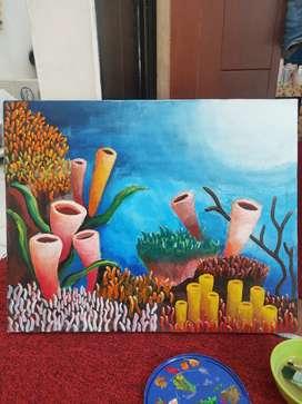 Lukisan Kanvas,Tangan Asli Cat Air 40x50