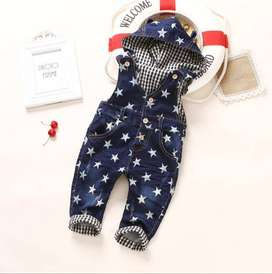 Party Wear Hooded Denim Jumpsuit for Baby Girl