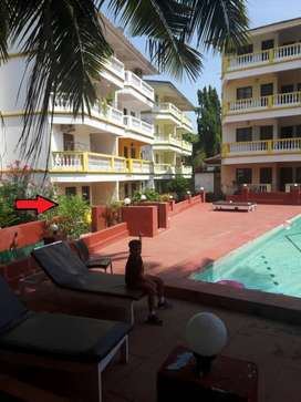 Candolim 1BHK 775 Sq. Ft. Ground floor in resort close walk to beach