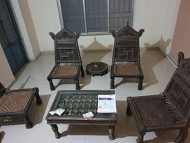 Antique Brass and wooden sofa set