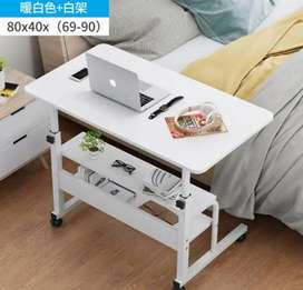 Adjustable table white pipes, white laminated wooden sheet