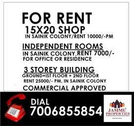 Shop and Offices available in Sainik colony Jammu on rent