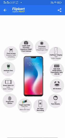 vivo v9  1 years 6 month old new conditin no problem old price 22990