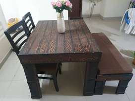 Dinning table with chair and stool bench