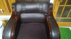 Leather sofa set with sofa cover