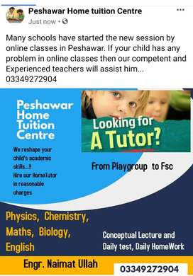 Home tuition from playgroup to Fsc throughout peshawar