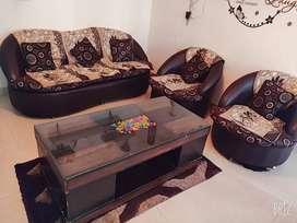 Sofa Set with table-glass top