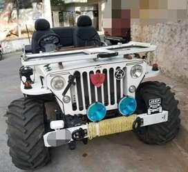 Modified white coloured jeep