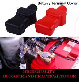 2 pc Car Battery Negative Positive Terminal Covers Cap Rubber