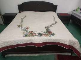 Wooden Double Bed + 2 Bedside Drawers