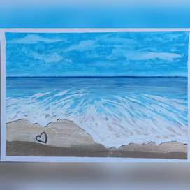BEACH OIL PASTEL PAINTING IDEAL FOR WALL DECORATION