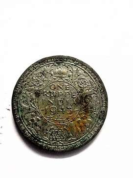 Old 1943 British Indian Coin (One Rupee)