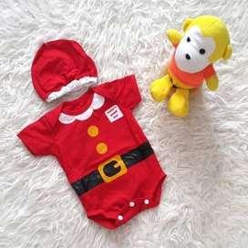 Baju Bayi Jumper Bayi Merah Kostum Natal Santa Set Topi - 0-6