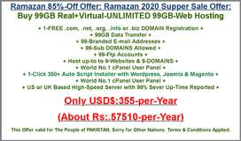 Ramazan Offer Buy Real Virtual Unlimited 99GB Web Hosting in Pakistan