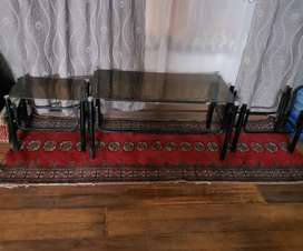 Iron Center Table with 2 Side Table and 1 Iron TV Trolley