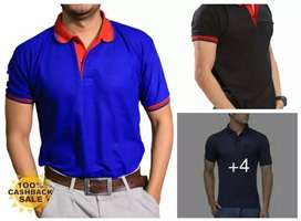 Elegant Solid Cotton Blend Polo T-Shir