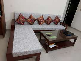 Sagwan wood sofa set 6 seater with attractive center table