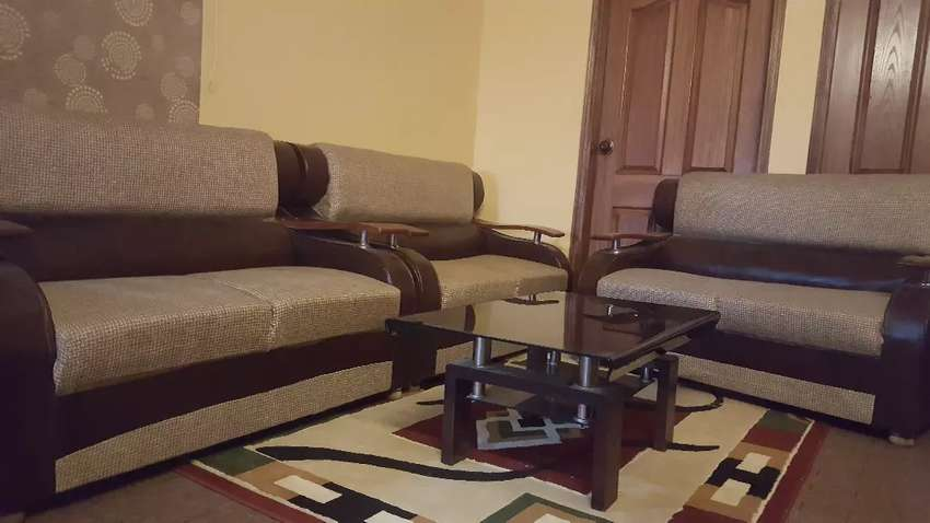 6 seater sofa set with tinted glass table 0