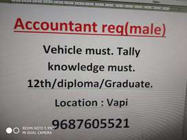 Accountant required male  only, tally knowledge must.