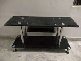 Led tv glass table trolley