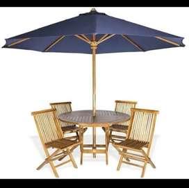 Meja payung jati,meja taman,kursi taman,meja cafe,meja parasol