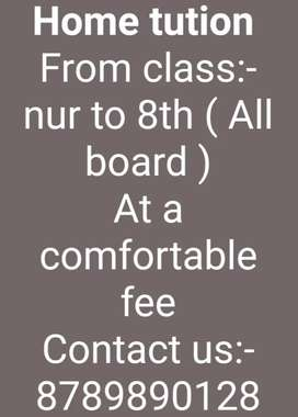Contact for home tution Nur to 8th class