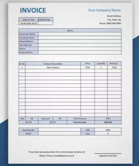 Contact me for customised invoice bill making