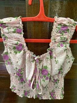 Floral Pink Crop Top_Shein_XS