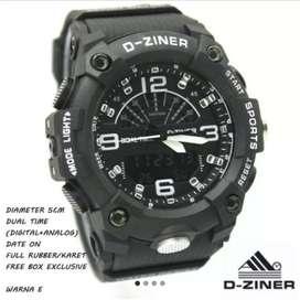 Jam tangan Dziner ori double time hitam