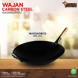 Wajan Gagang Kayu Carbon Steel 40cm - Golden Flying Fish