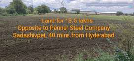 Land Opposite to Pennar Steel Company, Sadashivpet Hyderabad.