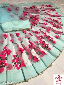 Siya Attractive Heavy Net Embroidered Sarees