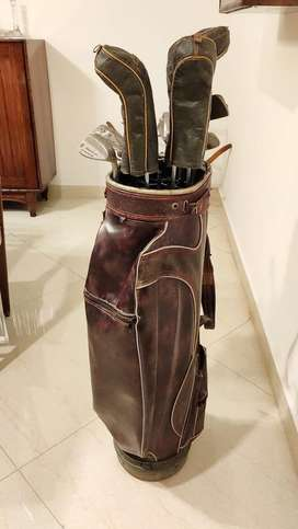 Golf clubs-set of 11 with leather bag stand