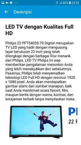 TV LED PHILIPS 22 INCH-FULL HD-DIGITAL TV MODEL:PFT5403S-70 Rp:1,125JT