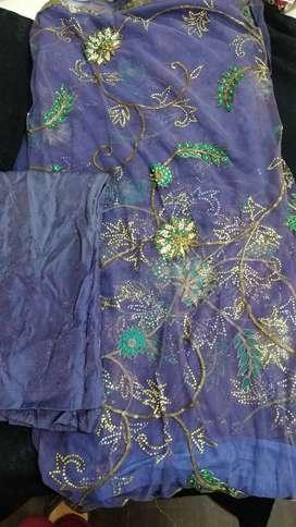 Bluish colour net saree with full work in saree