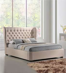 Romax Wing Fabric Bed in Beige Color