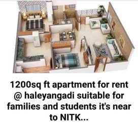 1200 sqft apartment for rent @ haleyangadi near to mukka and NITK