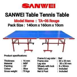 Meja Pingpong Tenis Meja Sanwei TA 06 Rouge FREE ONGKIR