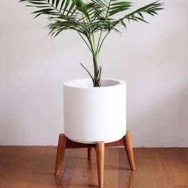 Pot taman Cantik Minimalis Bahan Semen Plus Rak Kayu
