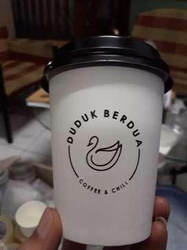 Sablon gelas kertas plus logo PAPER CUP 16oz