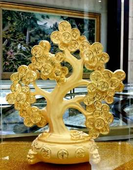 LuvDee Patung Pajangan 24K Pohon Uang /coin kuno p858