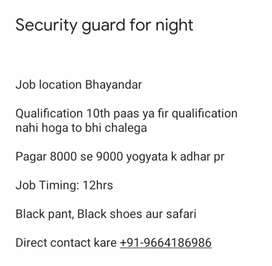 Security guard for night