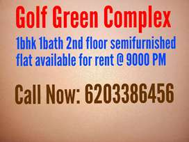 1bhk 1bath semifurnished flat available for rent in golf green complex
