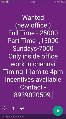 Part time job vacany in chennai