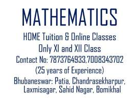 Home  and Online Tuition for XI and XII Mathematics,  Bhubaneswar