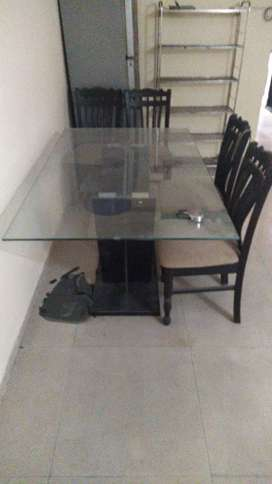 Dining table ( Italian MARBEL glass ) WITH 4 CHAIRS